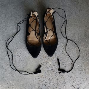 Lace Up Pointed Flats 7 BCBG Generation